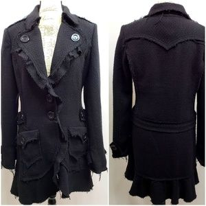 Steampunk Gothic Raw Edge Double Breasted Coat Lg